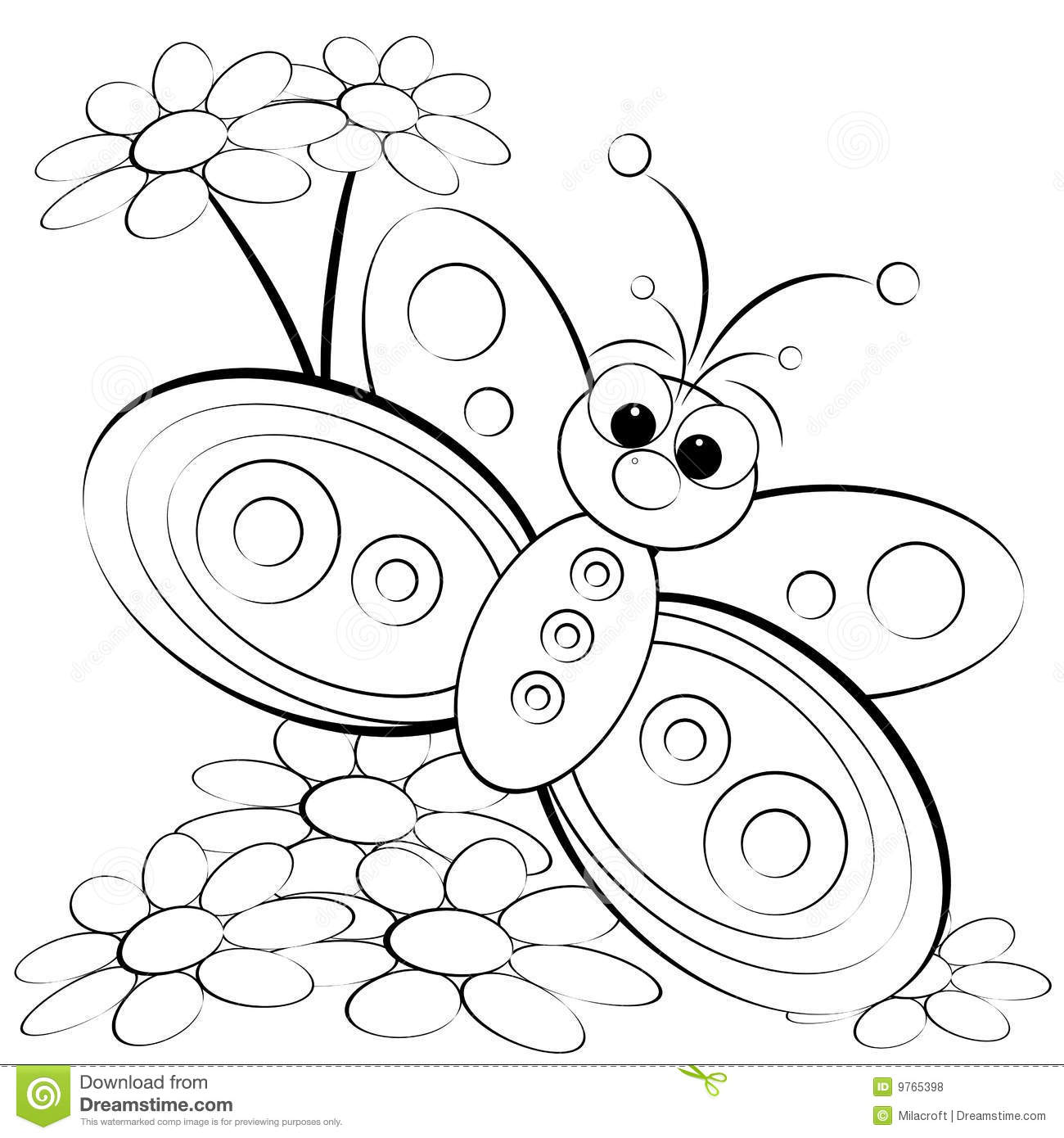 coloring page butterfly and daisy royalty free stock photos