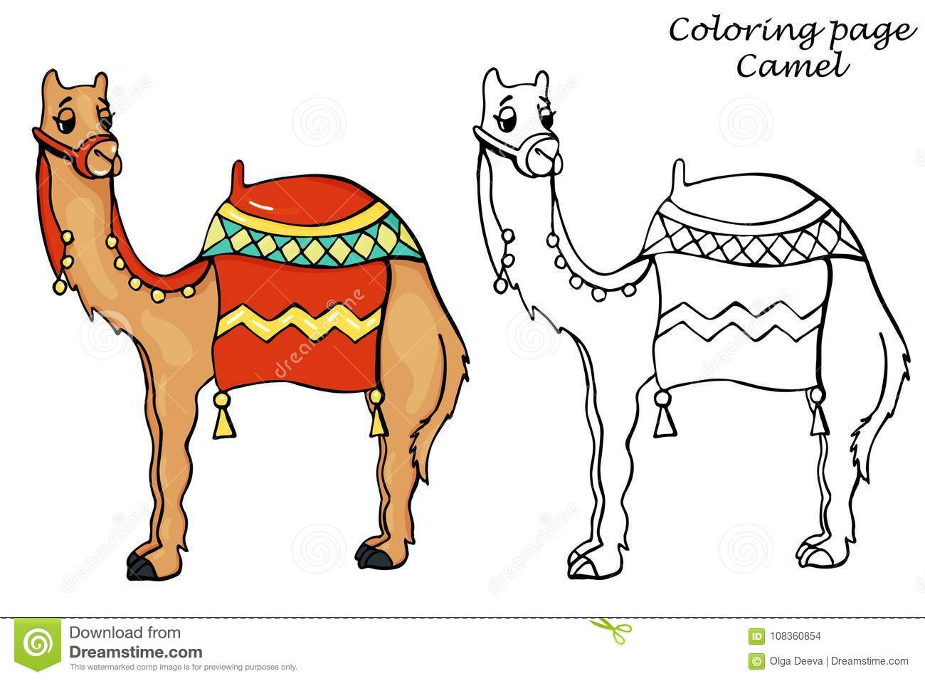 Coloring Page With Camel Outline In Cartoon Style Stock