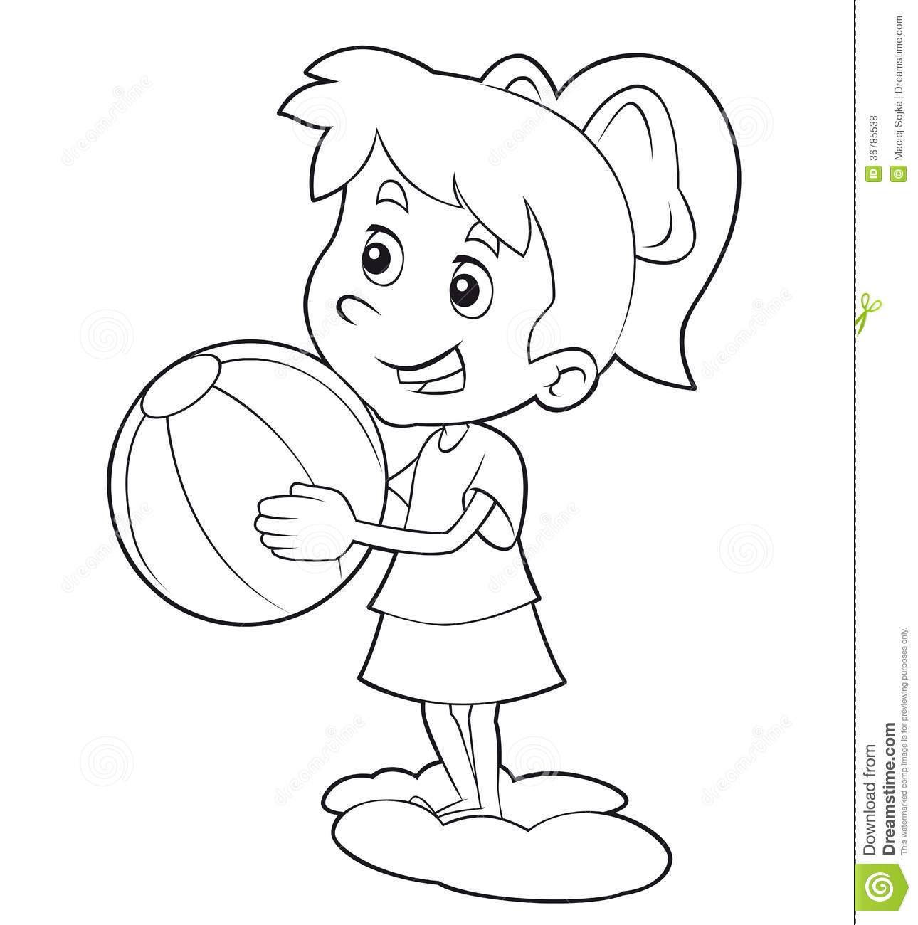 coloring page cartoon child having fun illustration for the