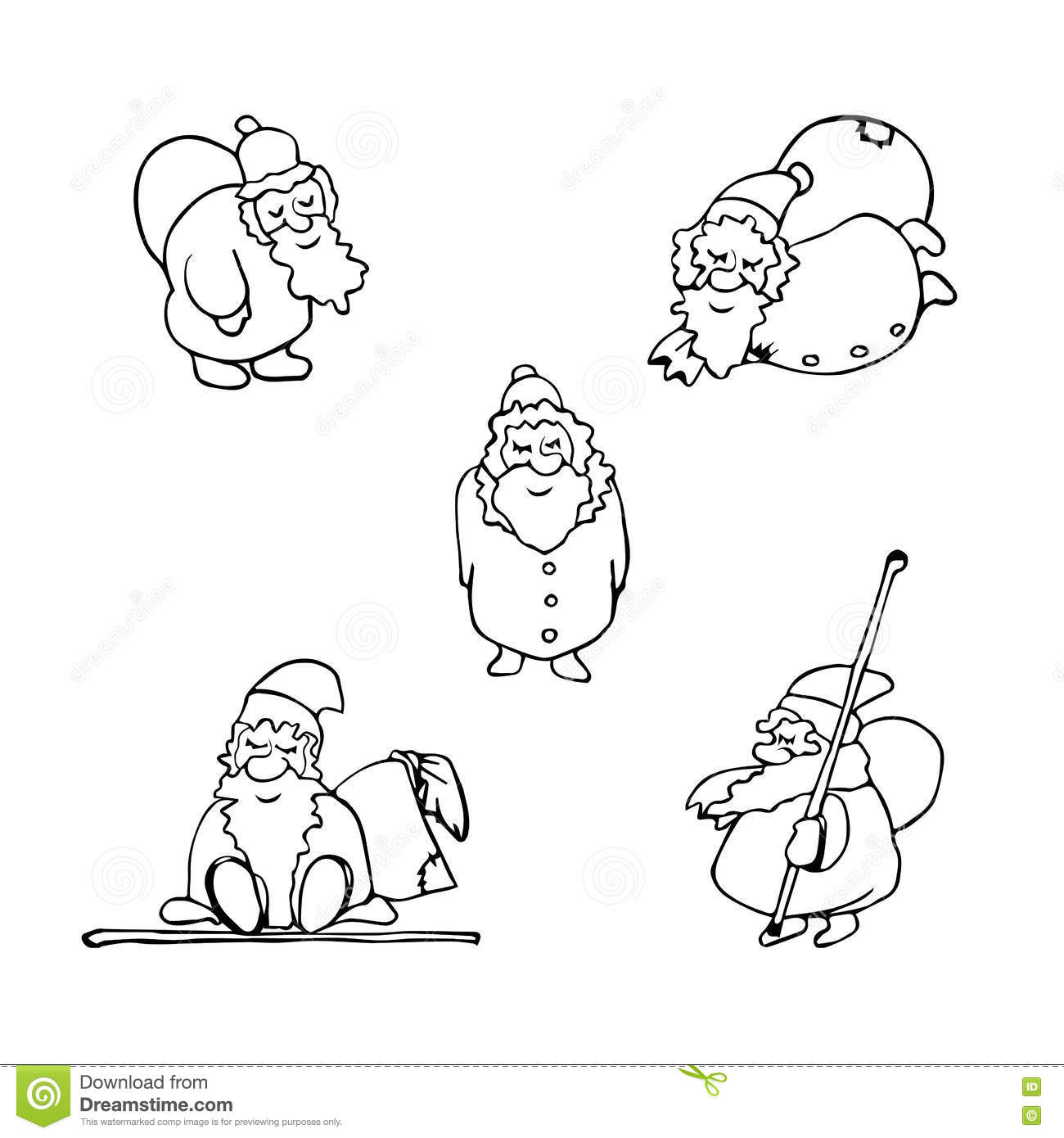 coloring page cartoon christmas set of santa claus