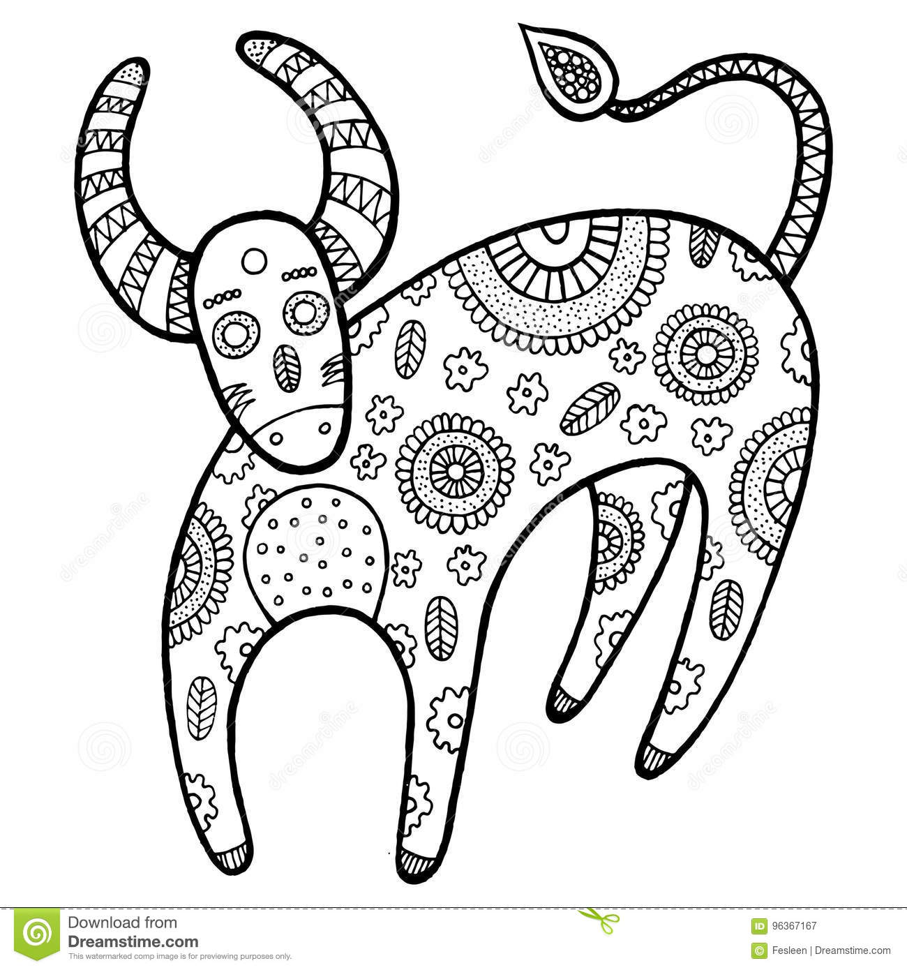 Download Coloring Page With Cartoon Cow Stock Vector
