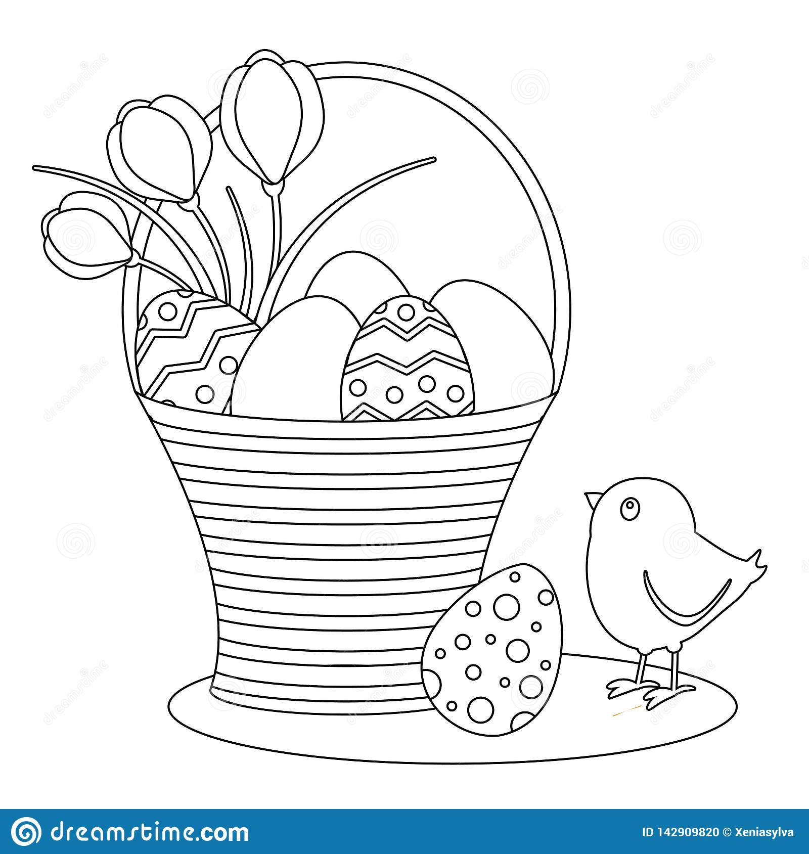 - Coloring Page With Cartoon Easter Eggs And Chick. Stock Vector