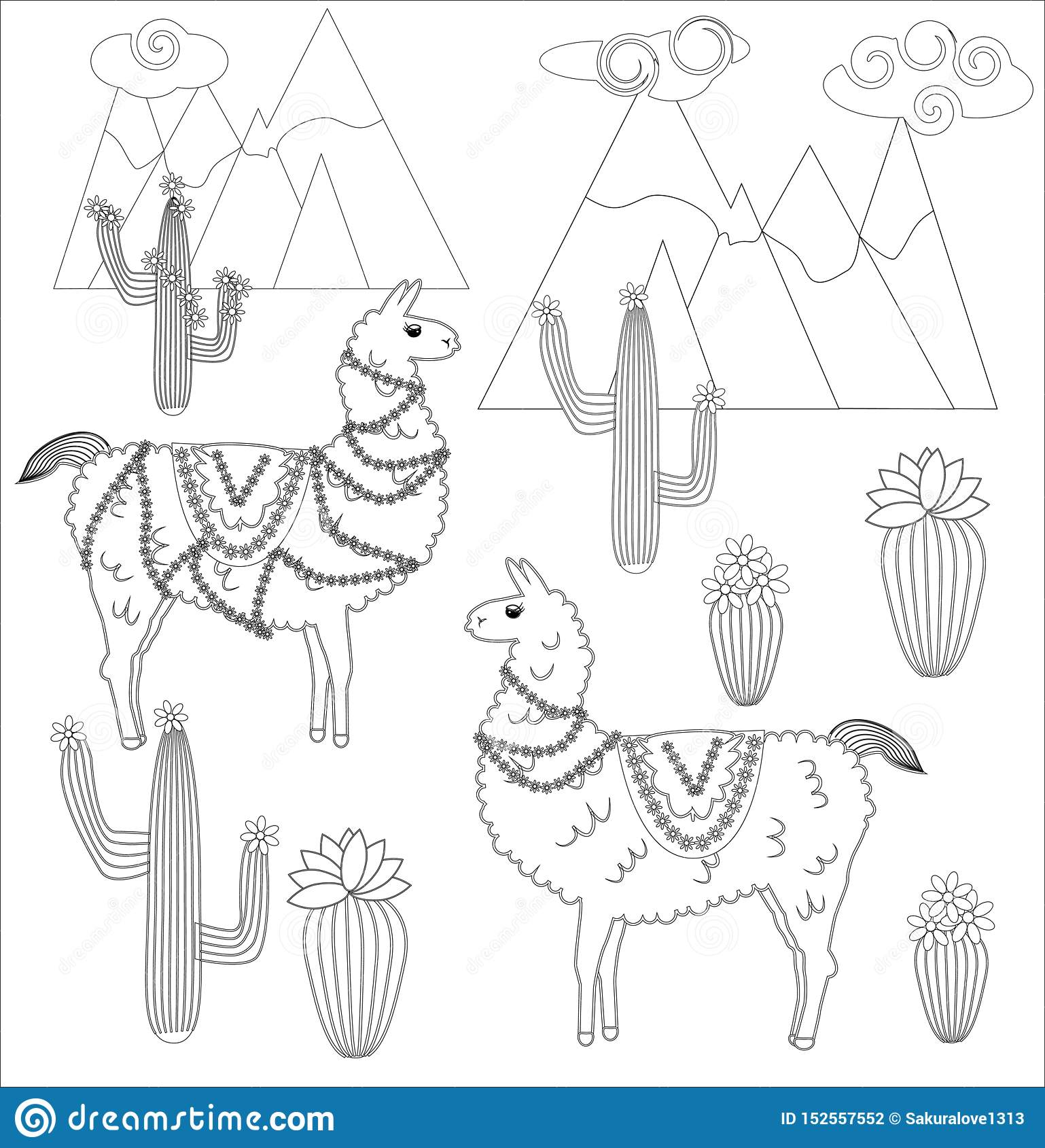 Coloring page of cartoon lama. Lama, coloring for adults and ... | 1689x1538