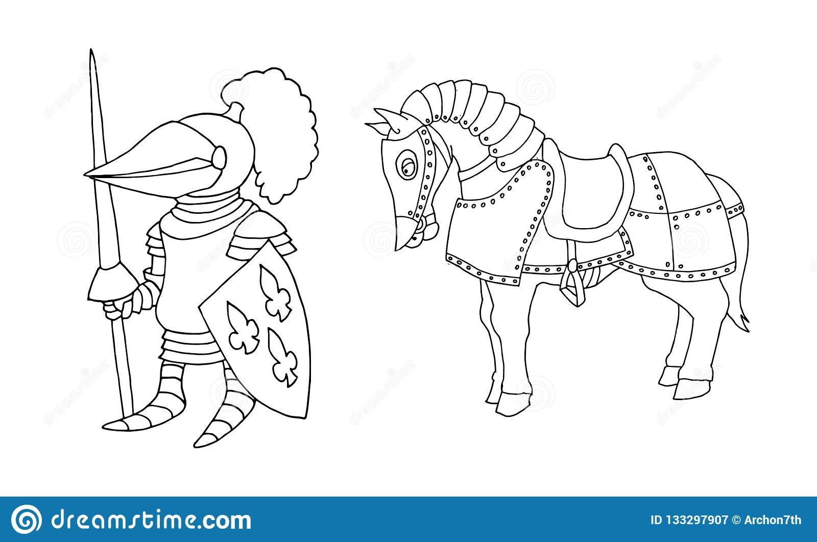 Coloring Page Of Cartoon Medieval Knight Prepering To Knight ...