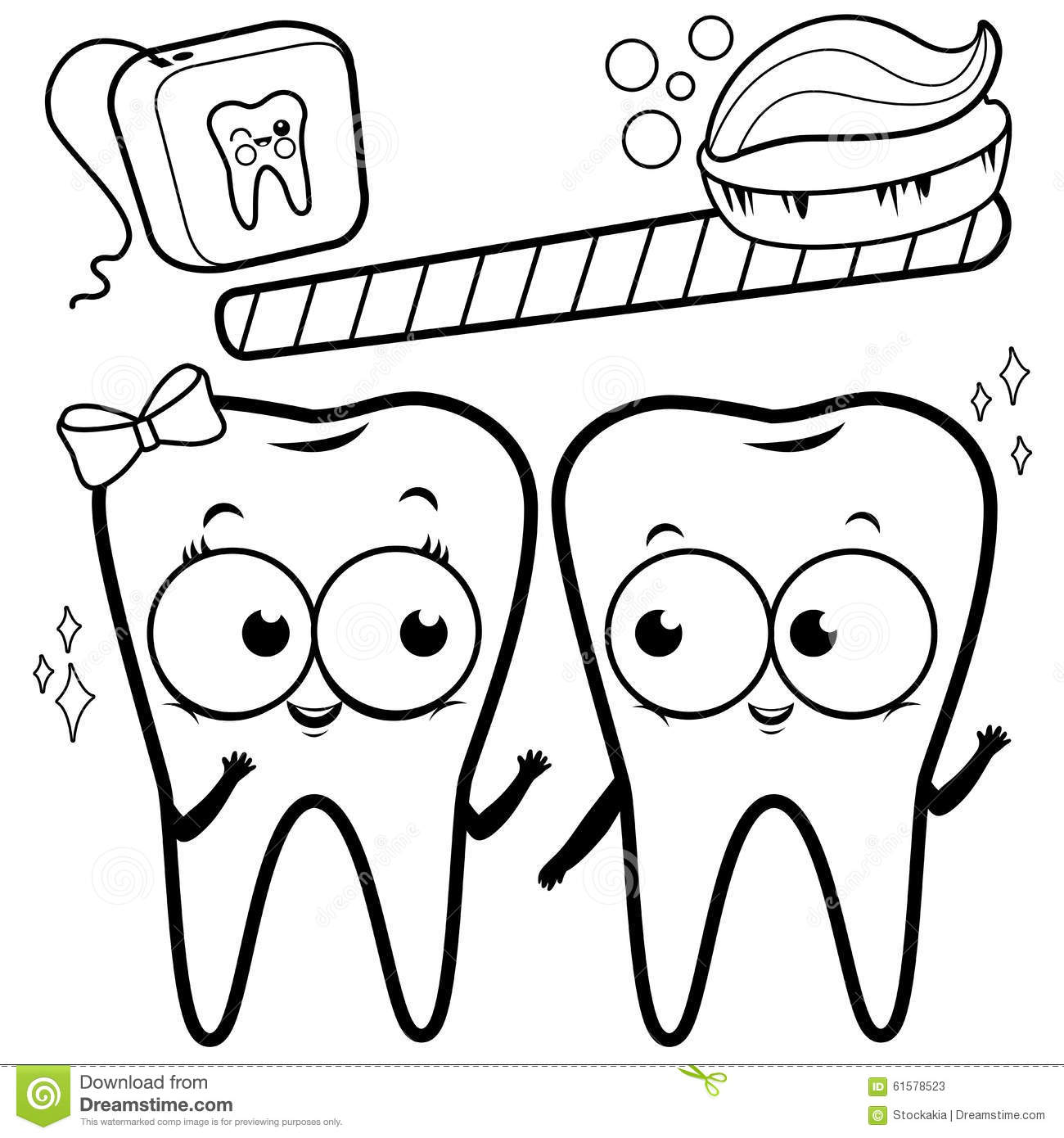 Coloring Page Cartoon Teeth With Toothbrush And Dental Floss Stock