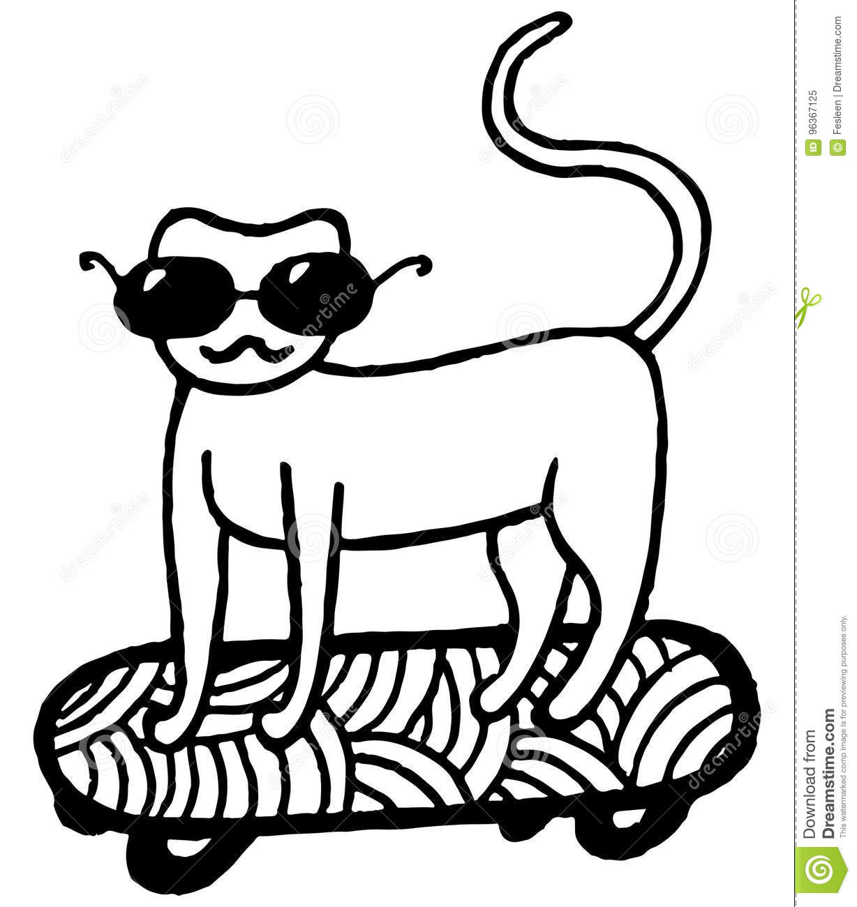 Coloring Page With Cat On Skateboard Stock Vector - Illustration of ...