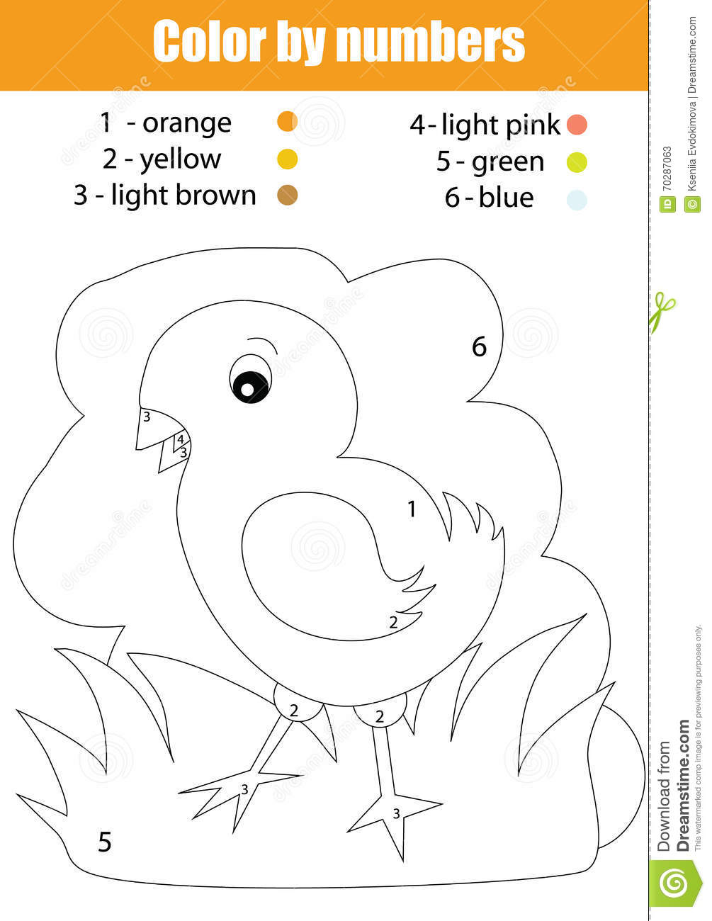 Coloring Page With Chicken Color By Numbers Stock Vector