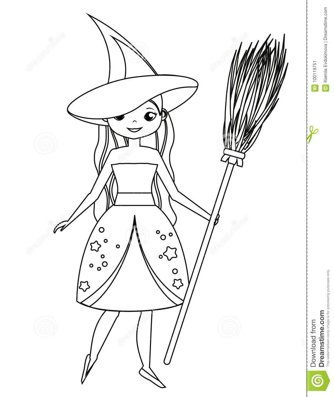 Coloring Page For Children. Cute Witch Holding Broom. Girl In ...