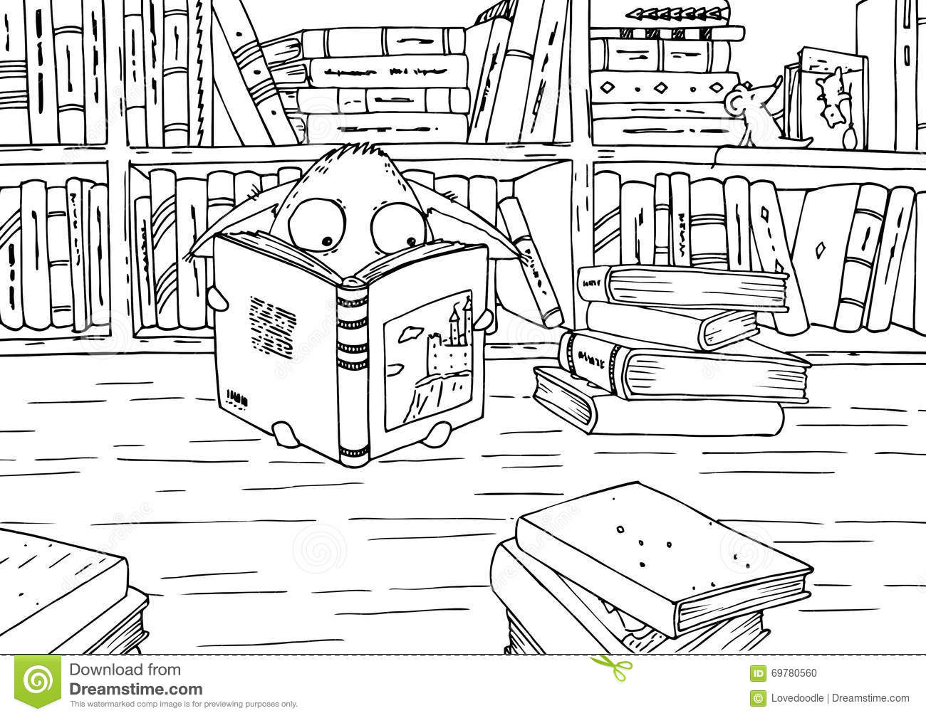 Coloring Page For Children. Little Monster In Library. Stock ...