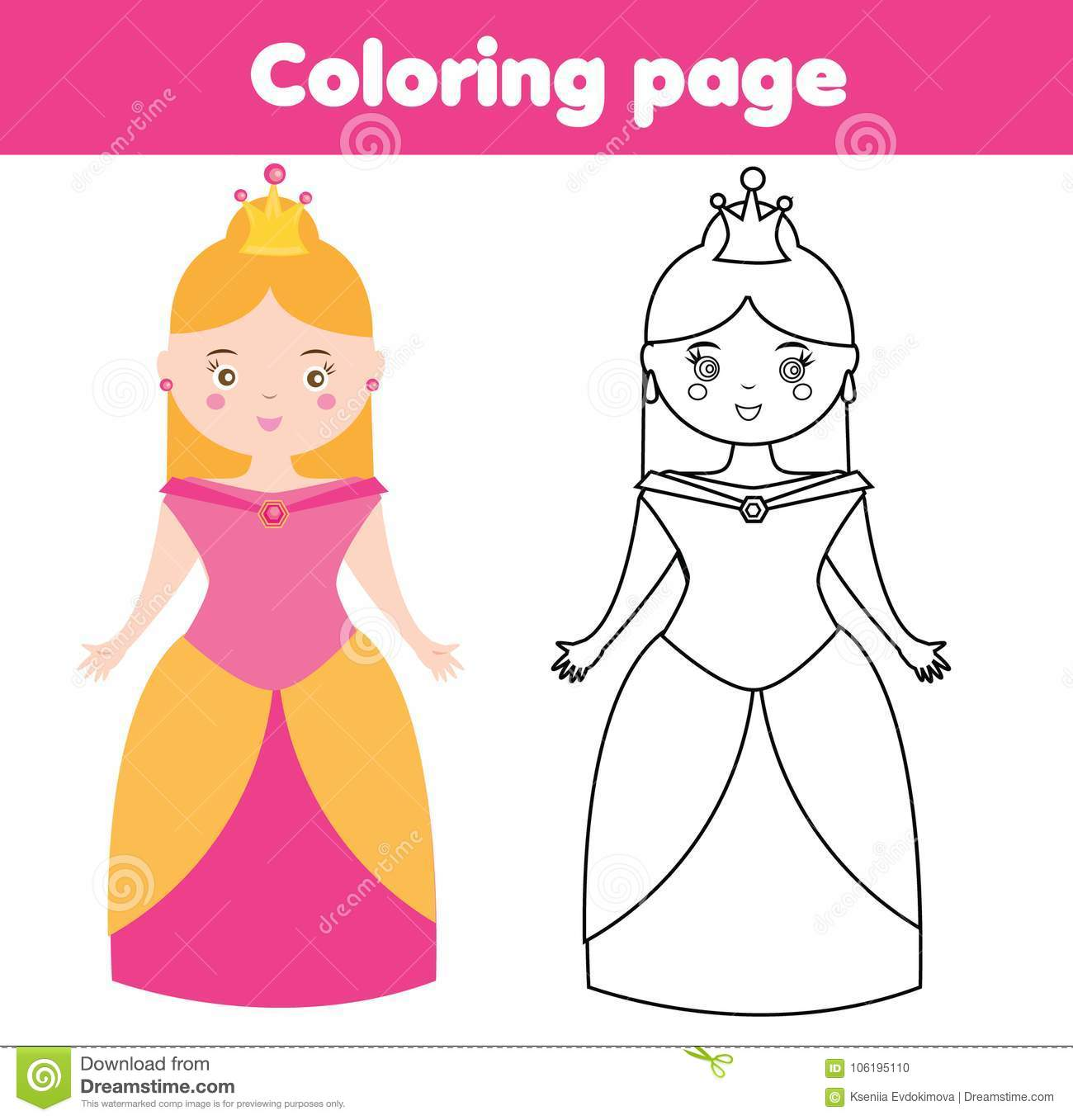 Coloring Page For Children. Princess. Drawing Kids Game. Printable ...