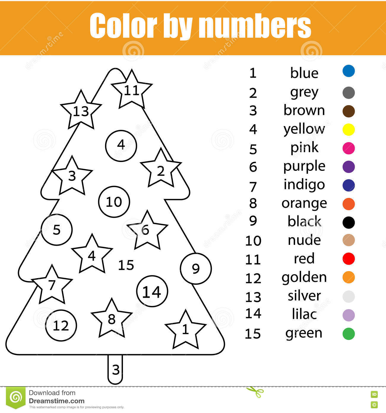 Coloring Page With Christmas Tree Color By Numbers Vector – Christmas Color by Number Worksheets
