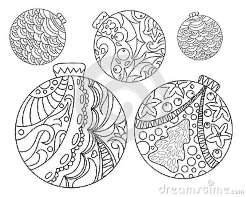 Coloring page with Christmas tree ornaments. Christmas fir tree ornament  adult coloring page. - Coloring Page With Christmas Tree Ornaments. Christmas Fir Tree