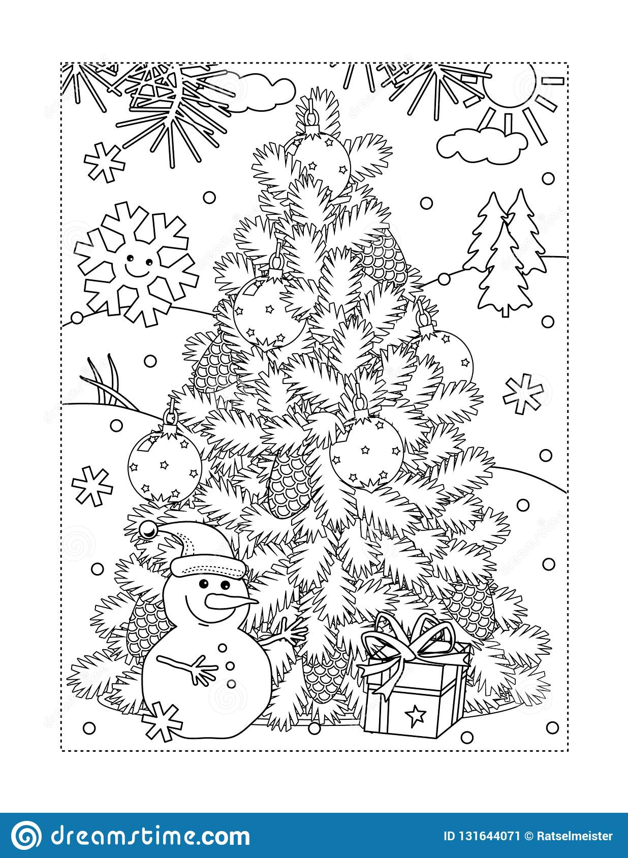 Coloring Page With Christmas Tree Snowman Gift Stock Vector Illustration Of Album Activities 131644071