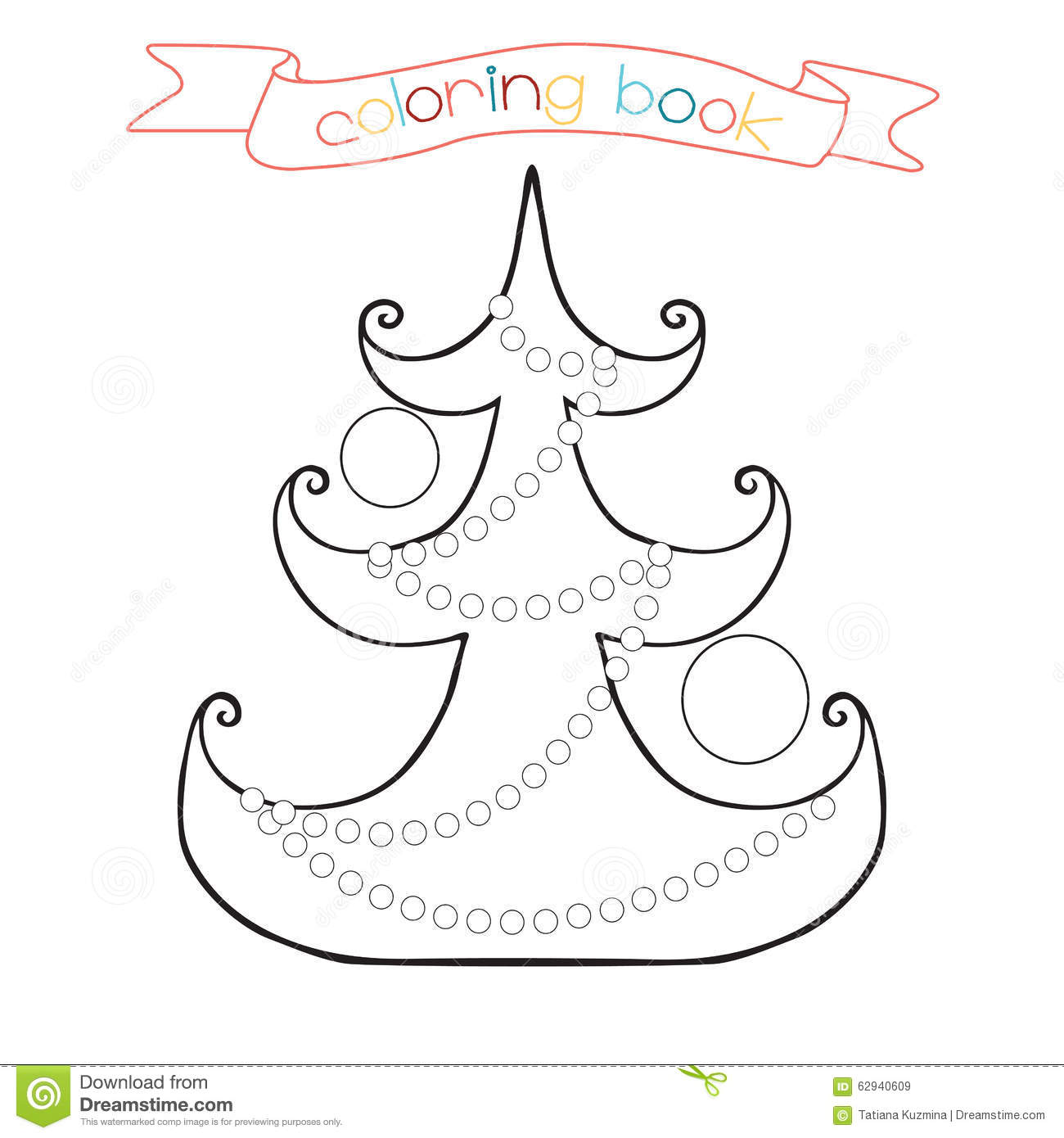 Coloring Page With Christmas Tree Winter Scene In Illustration Stock Illustration