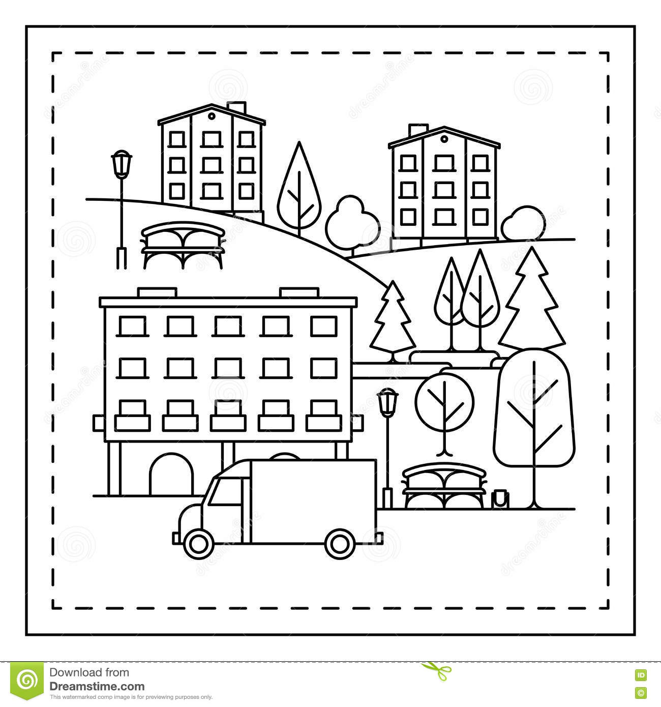Coloring Page With City Landscape Stock Vector Image