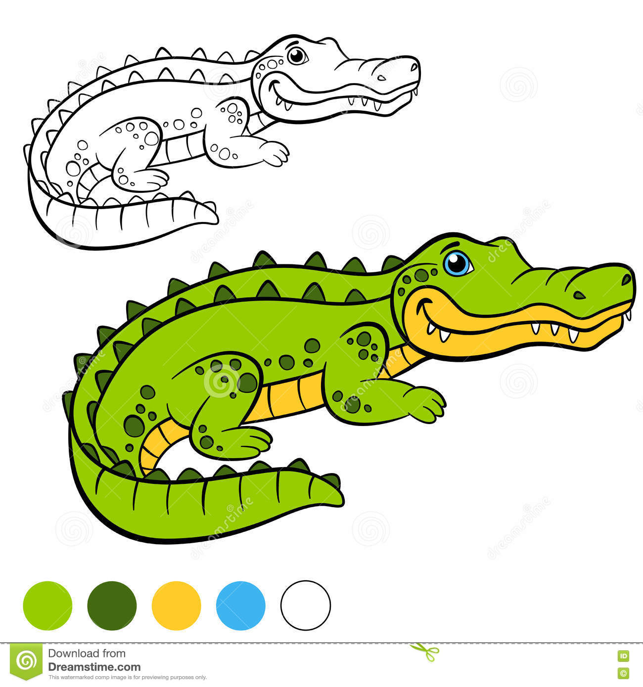 coloring page color me alligator little cute alligator stock