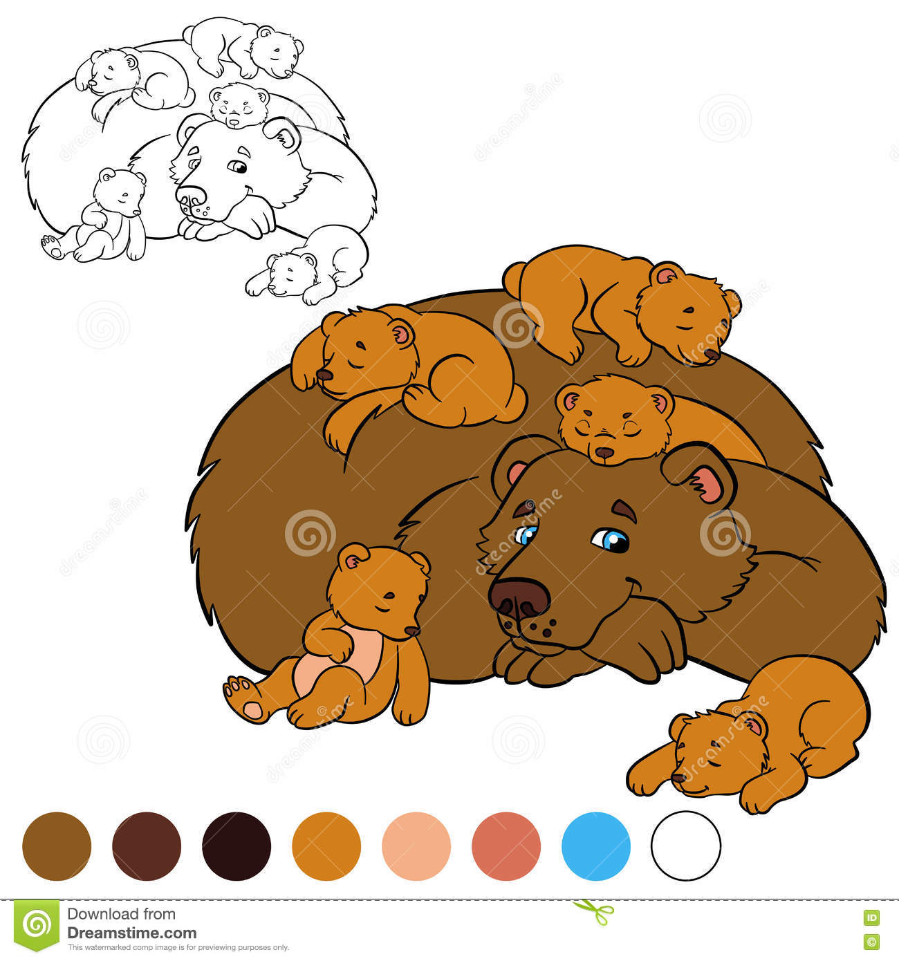 coloring page color me bear daddy bear with his baby bears