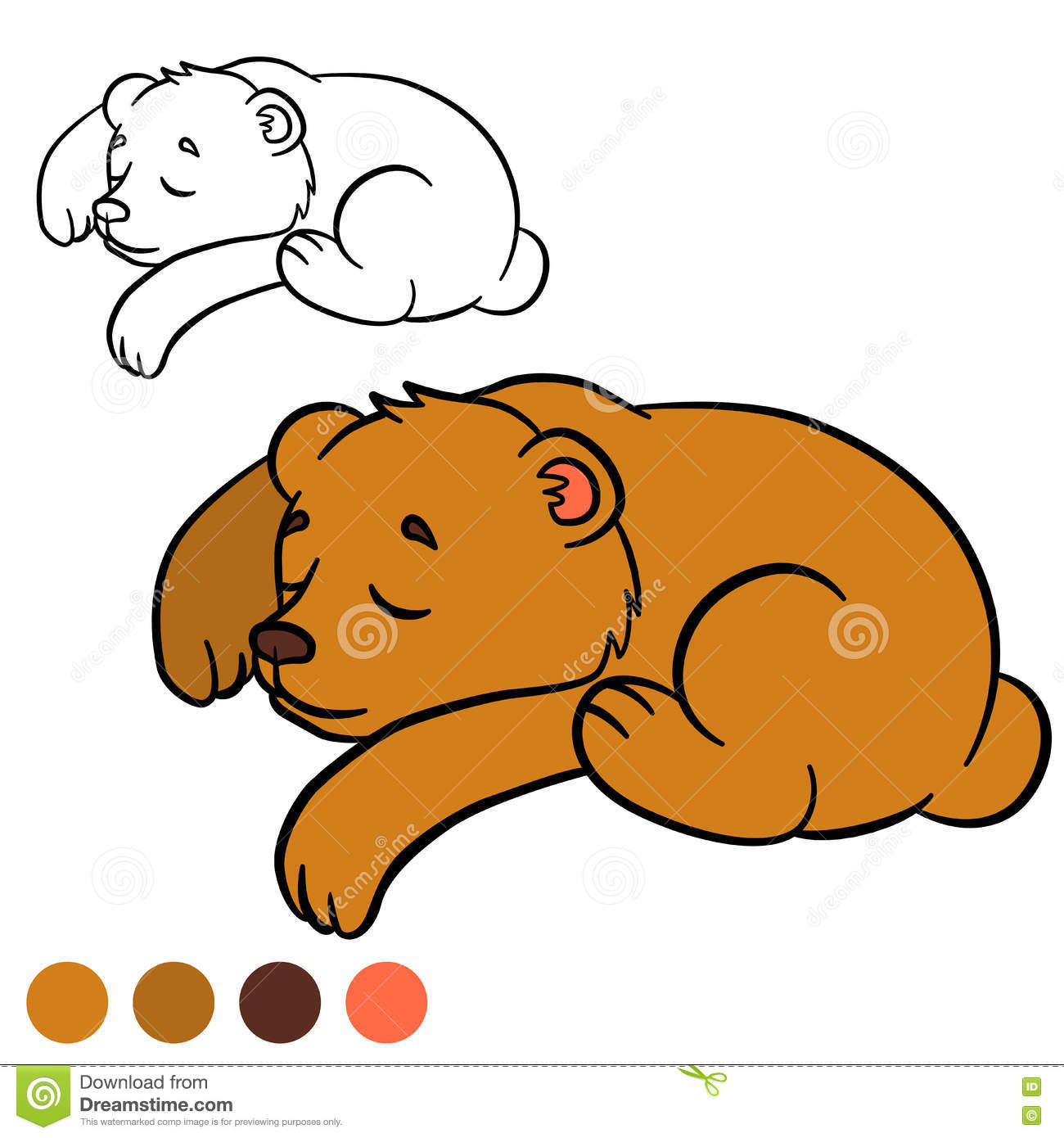 coloring page color me bear little cute baby bear stock vector