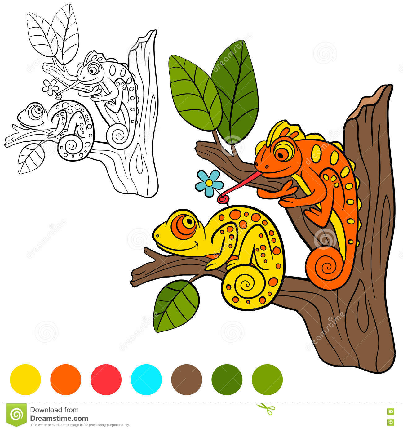 coloring page color me chameleon two little cute chameleon sits tree branch