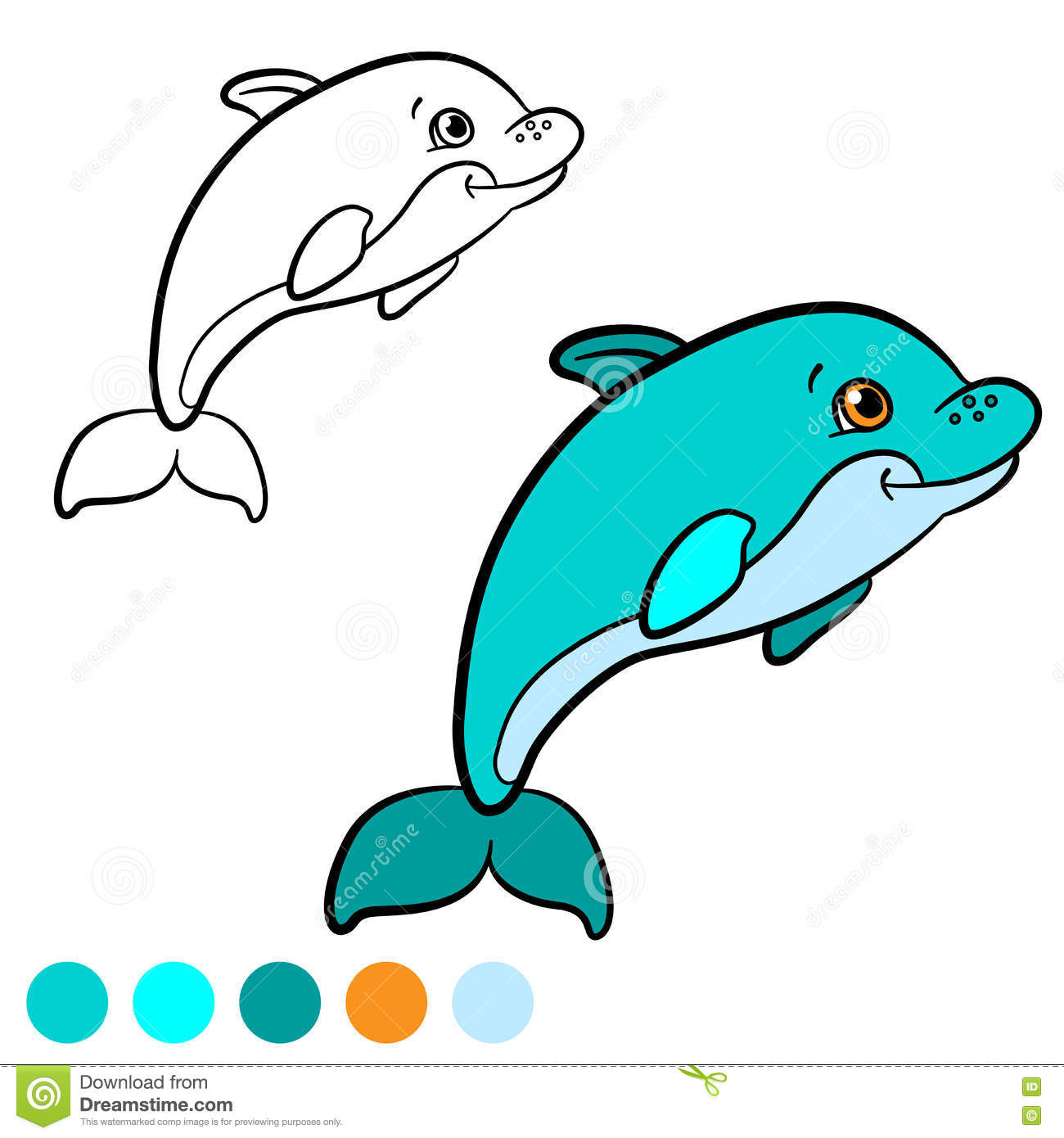 Coloring Page Color Me Dolphin Little Cute Baby Swims
