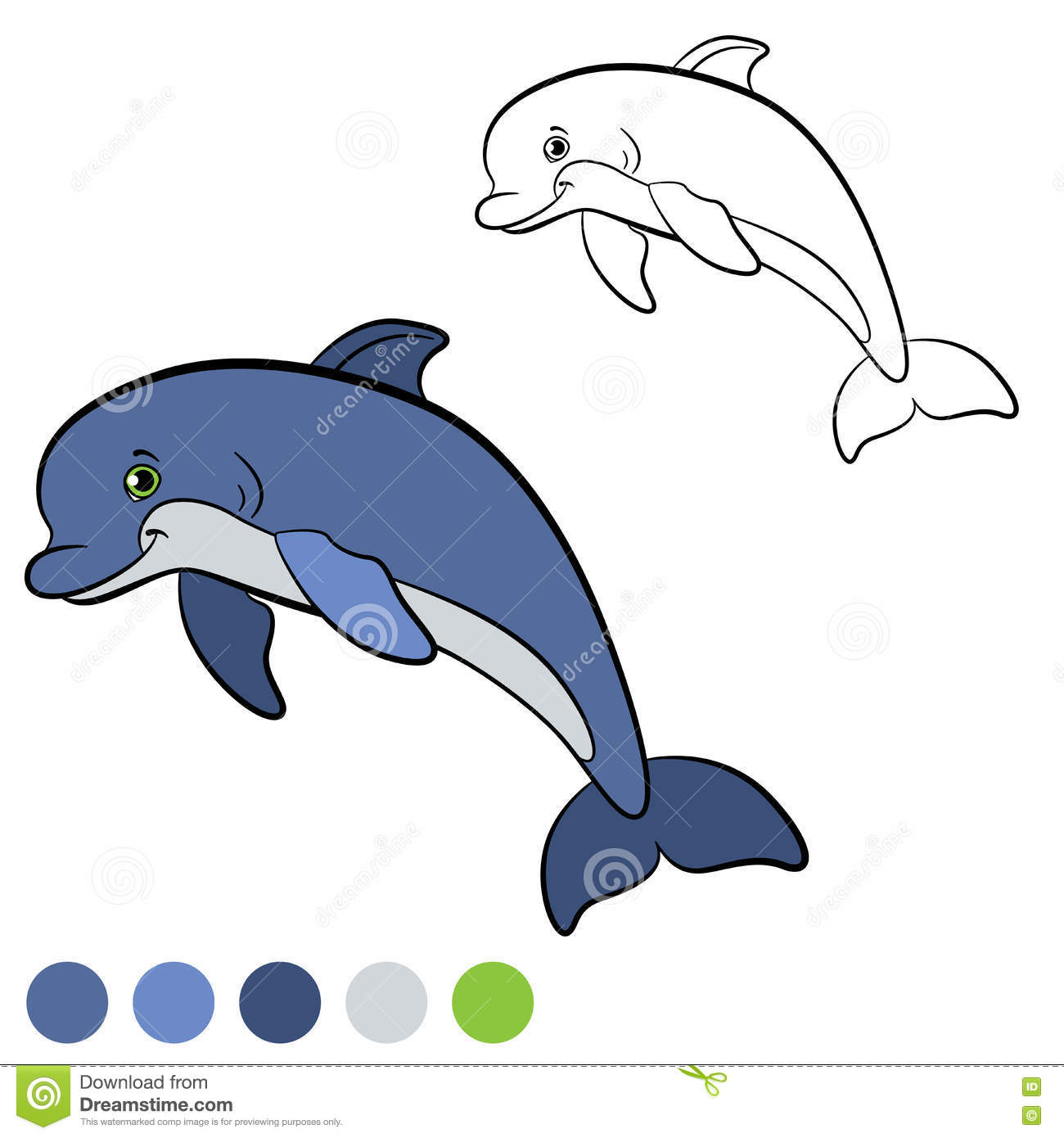 Coloring Page. Color Me: Dolphin. Little Cute Dolphin Smiles. Stock ...