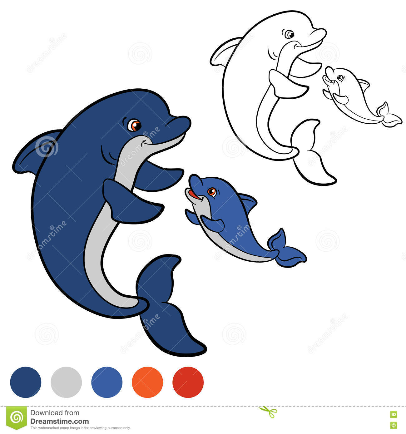 Coloring Page Color Me Dolphin Mother Swims With Her Little Cute Baby They Are Happy