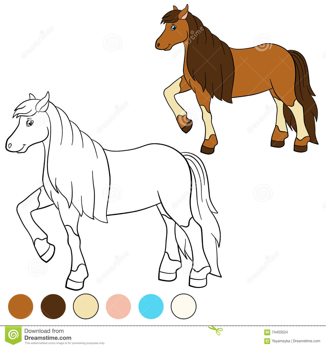 Coloring Page Color Me Horse Cute Horse Stock Vector Illustration Of Drawing Child 74403524