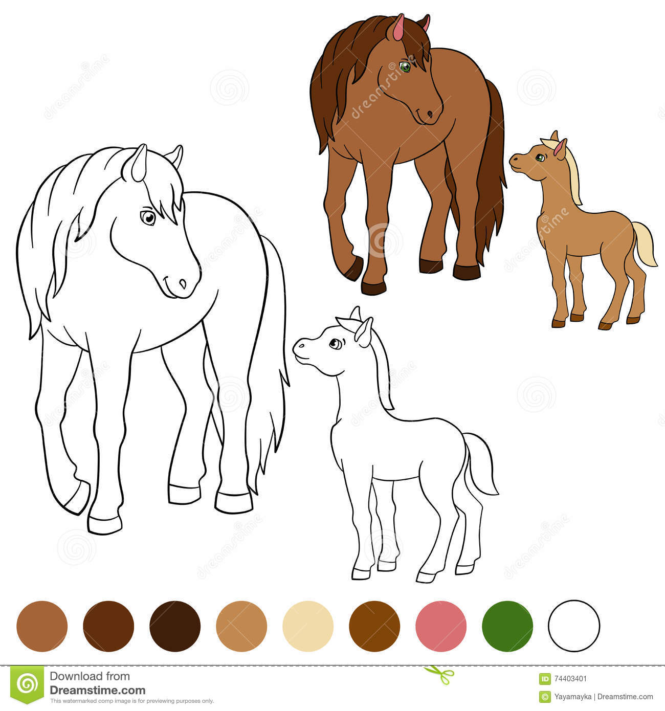 Horse and foal coloring page - Coloring Page Color Me Horse Mother Horse With Foal