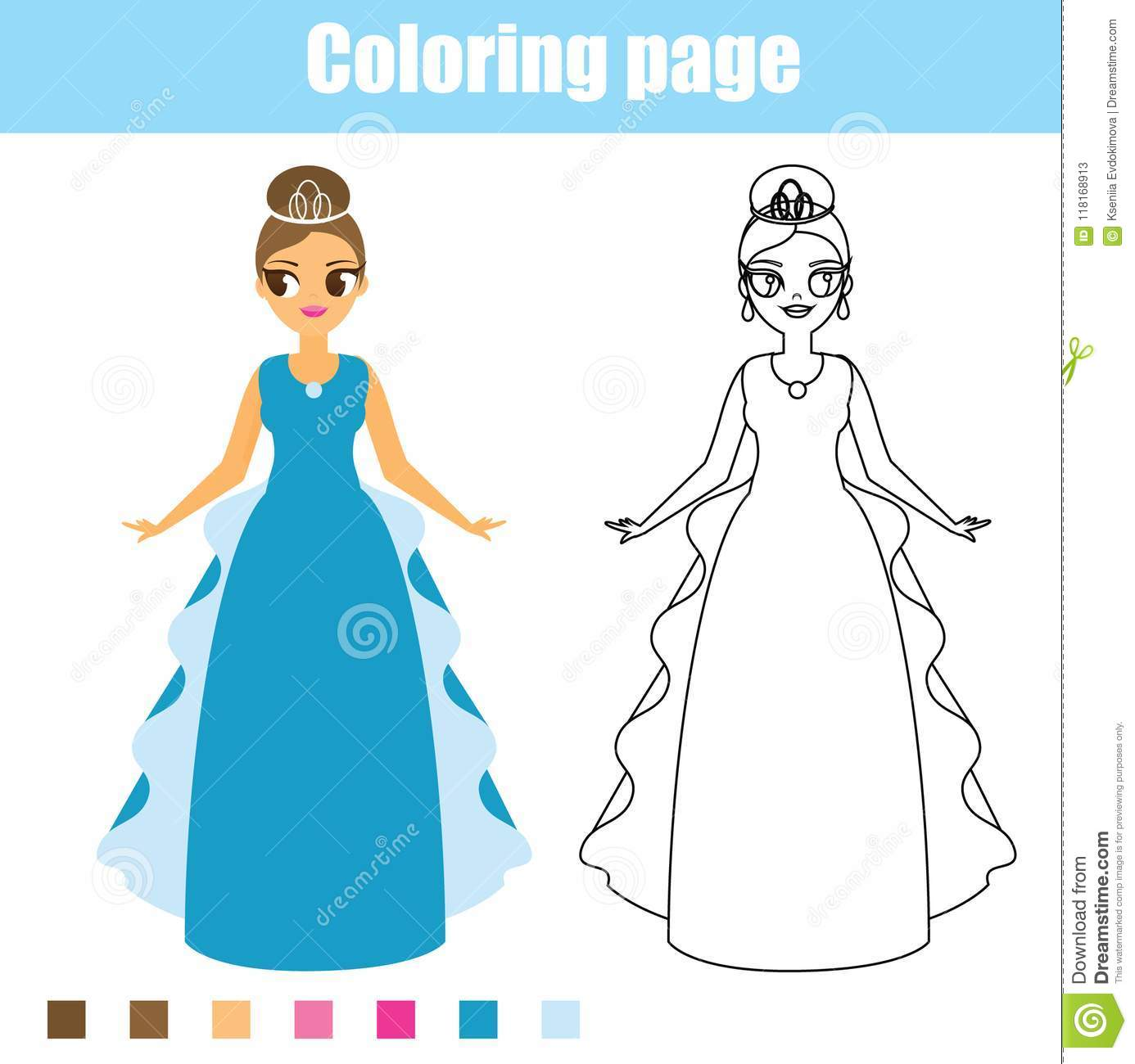 Coloring Page Princess Educational Game Printable Activity For Toddlers