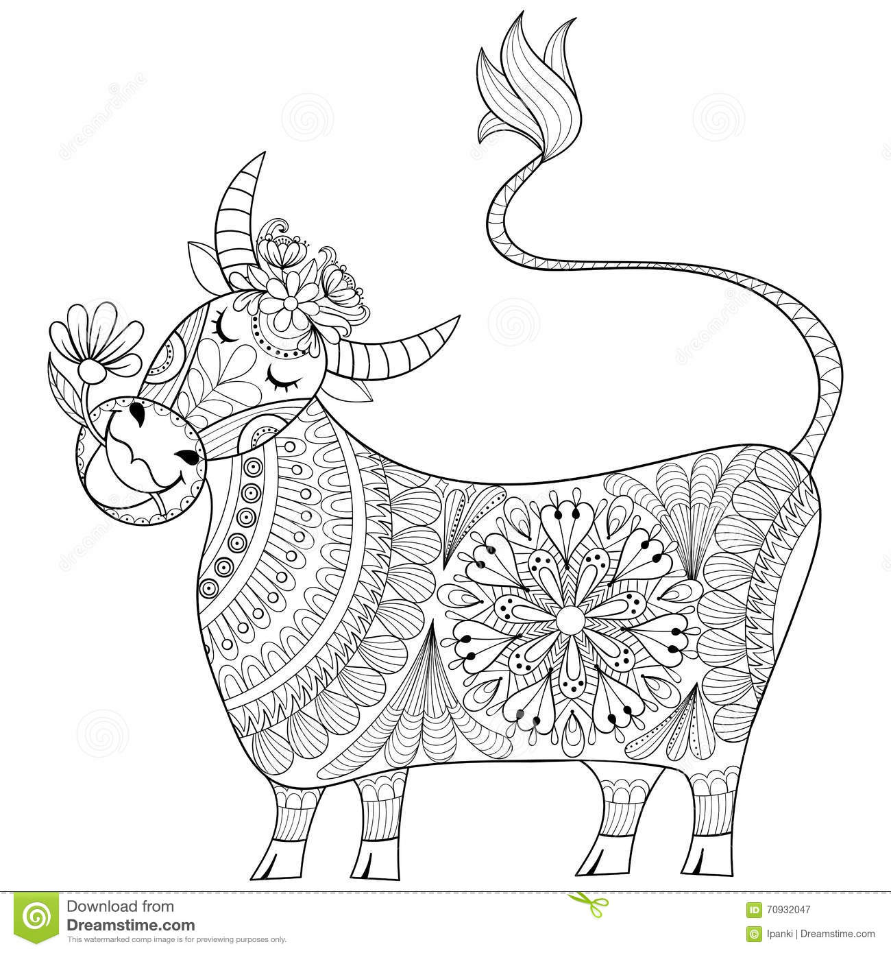 Coloring Page With Cow Zenart Stylized Hand Drawing Milker Illu