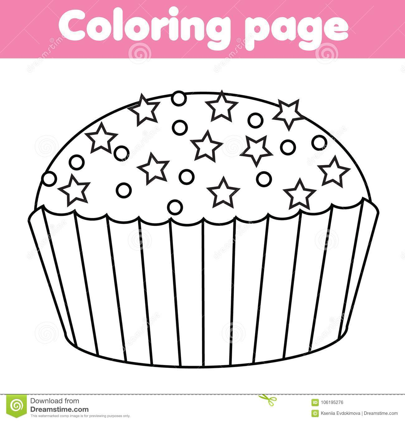 Coloring Page With Cupcake Drawing Kids Game Printable Activity