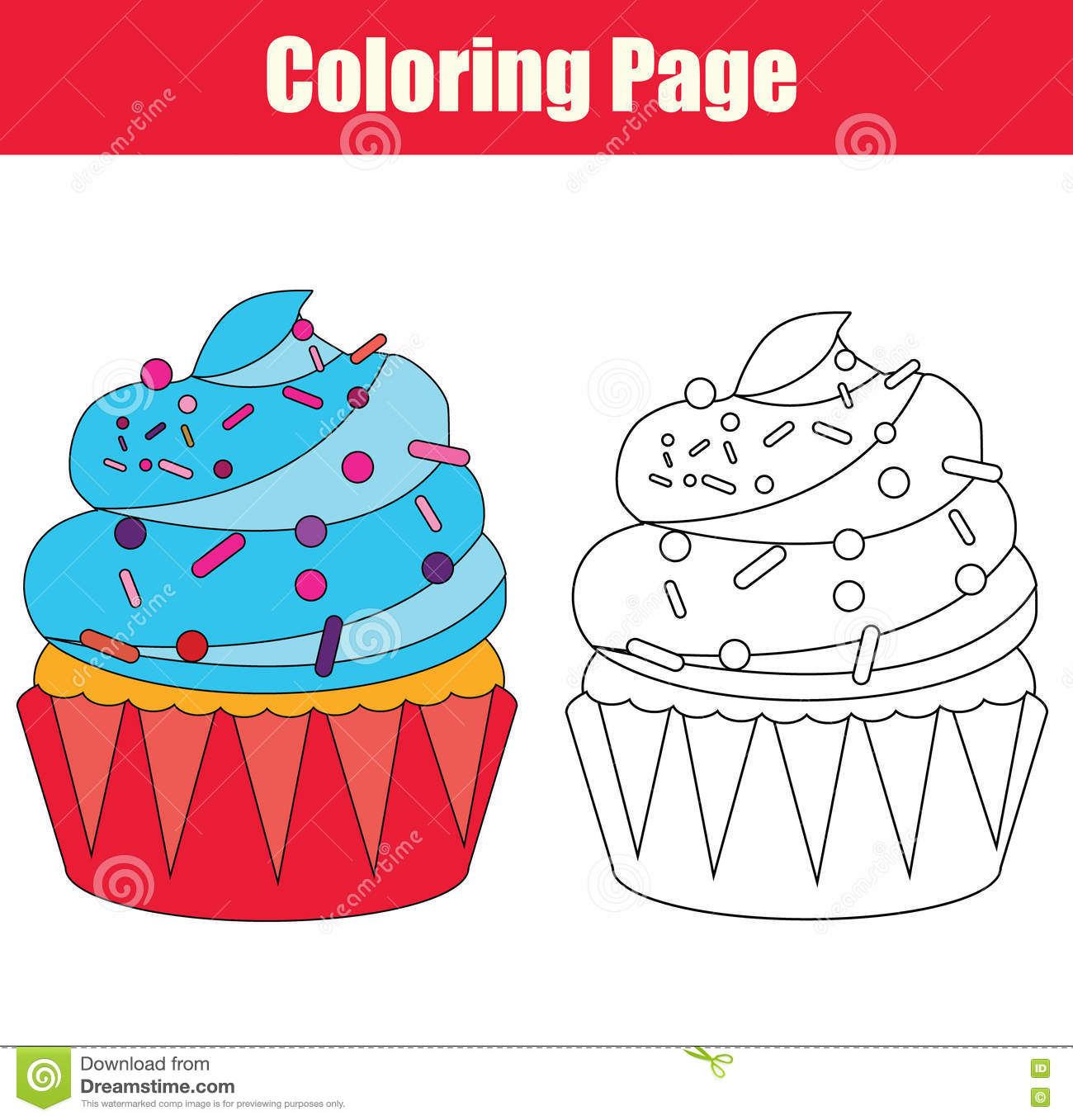 cupcake coloring page stock illustrations u2013 117 cupcake coloring