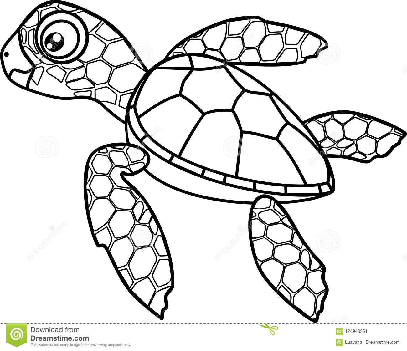 Coloring Page. Cute Cartoon Hatchling Of Sea Turtle Stock ...