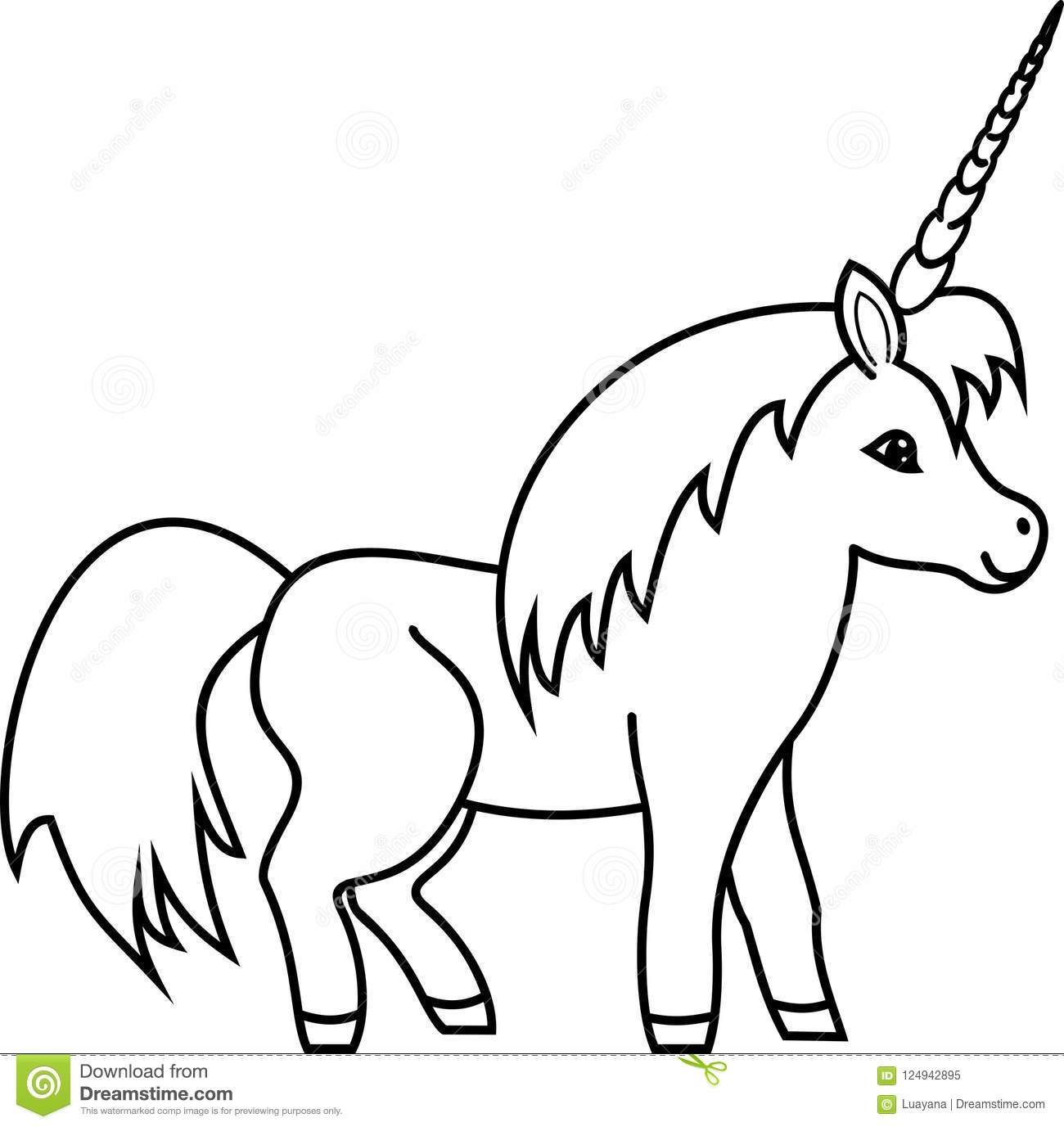 Coloring Page Cute Cartoon Unicorn Stock Vector Illustration Of