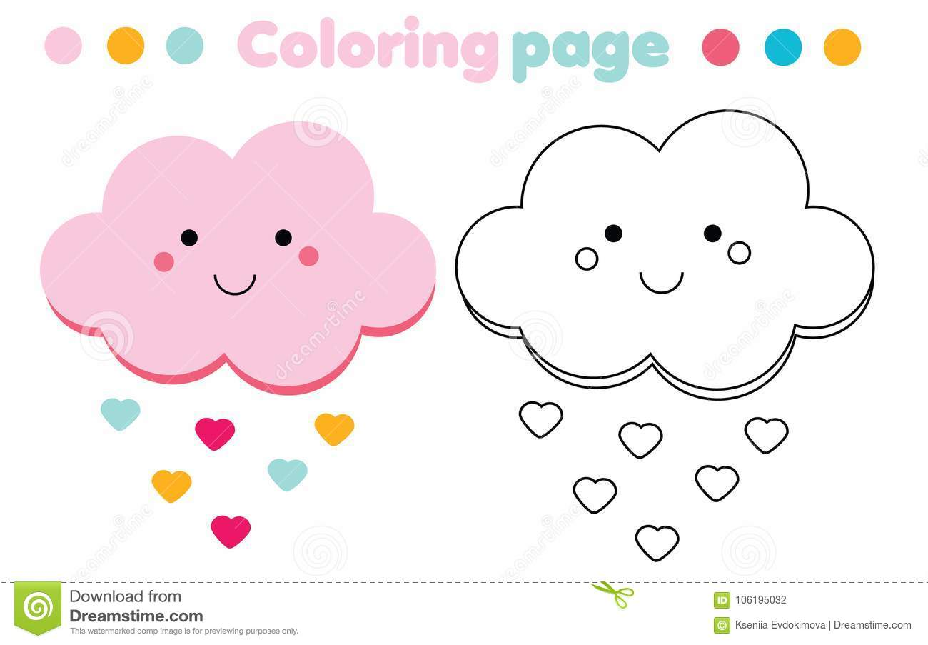 picture about Printable Cloud titled Coloring Webpage With Adorable Cloud. Drawing Small children Sport. Printable