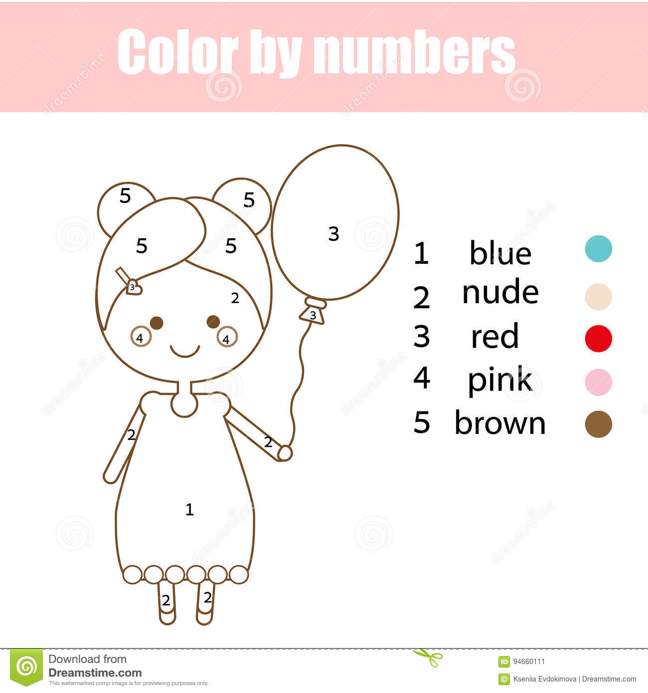 Coloring Page With Cute Girl Character Color By Numbers Educational Children Game Drawing Kids Activity Illustration 94660111 Megapixl