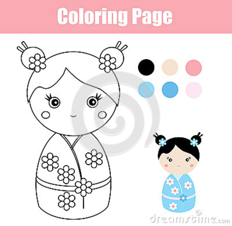 Download Coloring Page With Cute Japanese Kokeshi Doll Children Educational Game Stock Vector