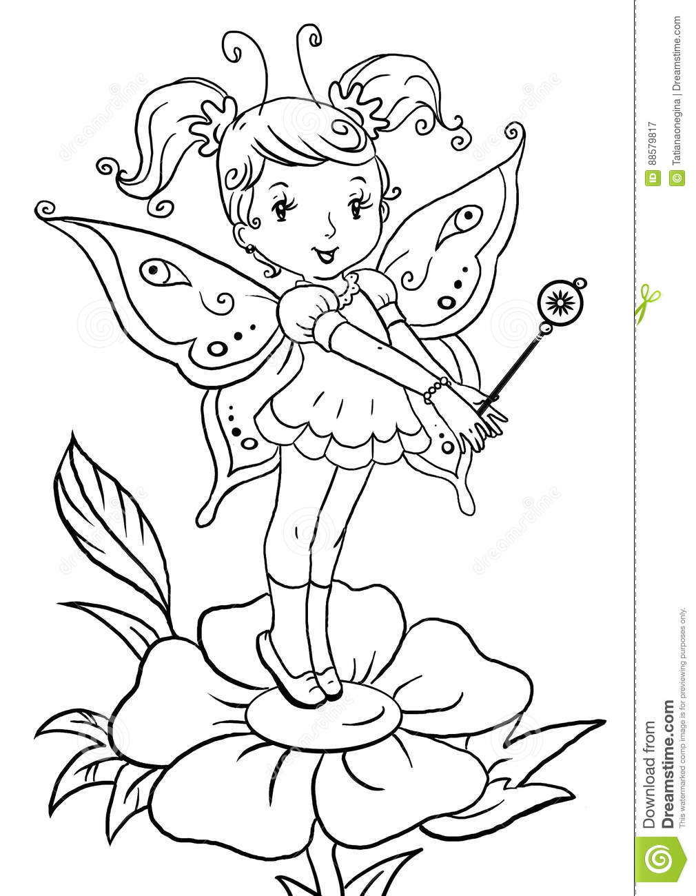 Coloring Page With Cute Little Elf Girl Standing On A Flower Stock ...