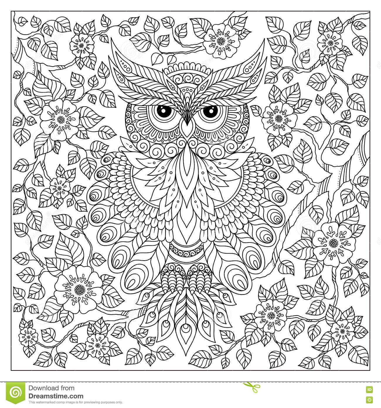 coloring page with cute owl and floral frame stock vector image