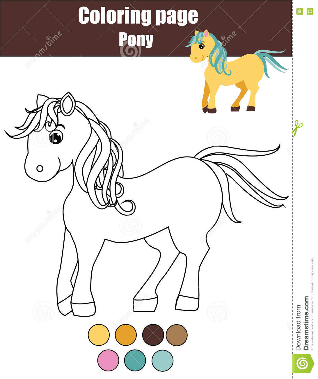 Coloring Page With Cute Pony, Horse. Educational Game, Drawing Kids ...