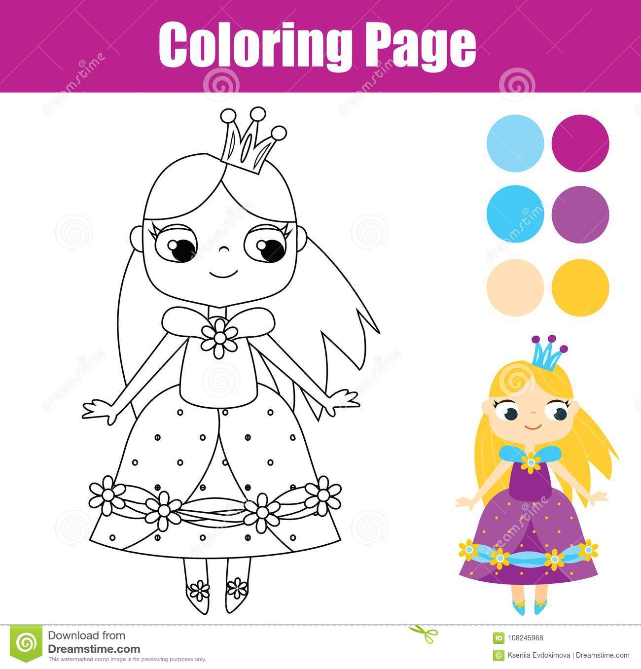 Coloring Page With Cute Prnicess Educational Game