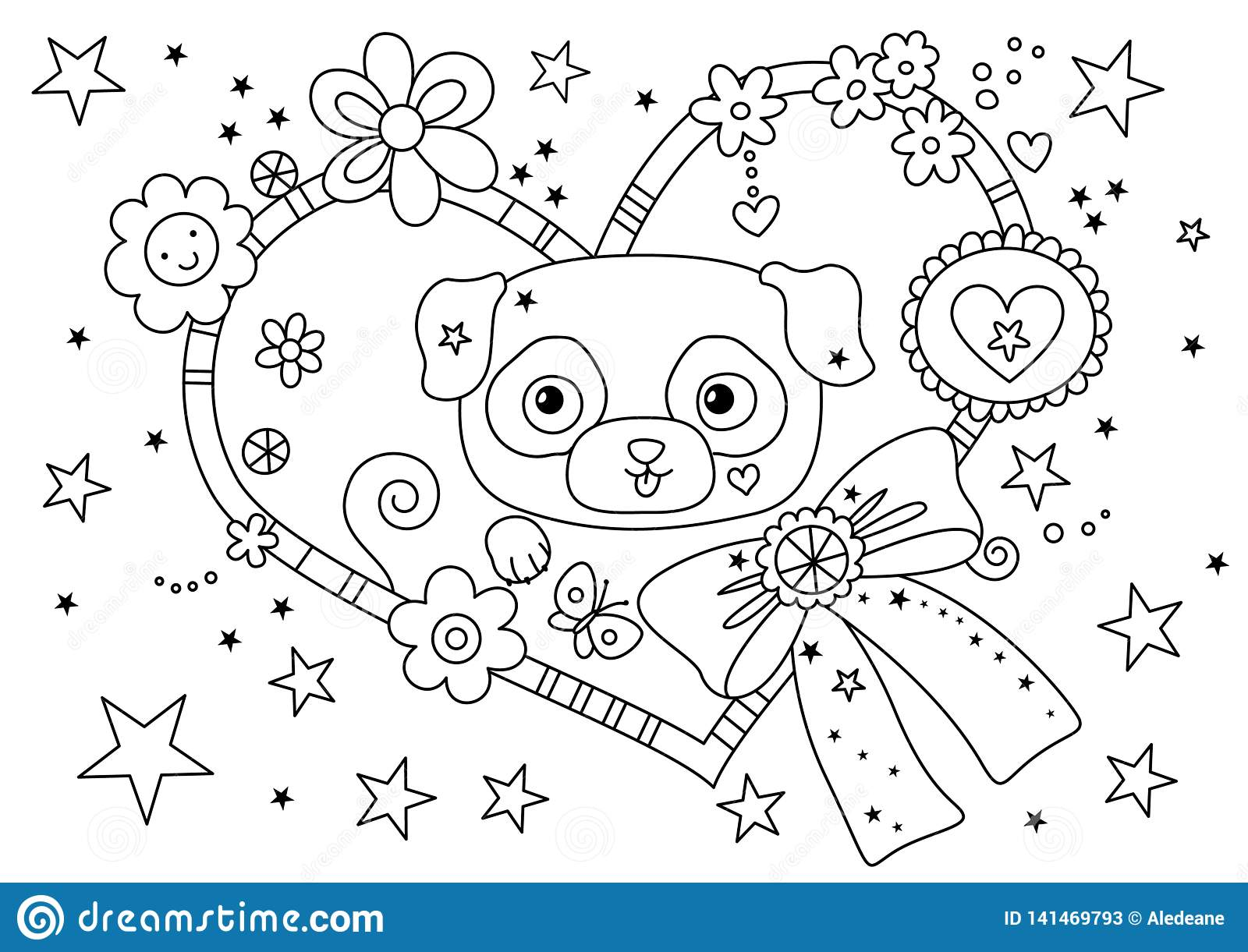 Cute Pug Coloring Page Stock Illustration Illustration Of