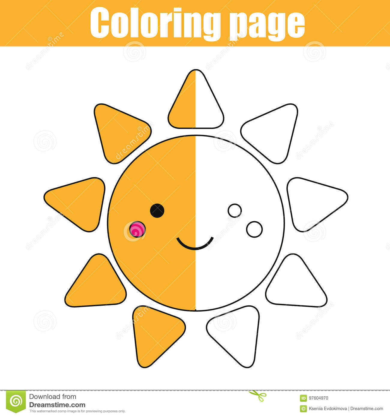 Coloring Page With Cute Sun Character Educational Game Printable Drawing Kids Activity Stock Vector Illustration Of Positive Preschool 97604970