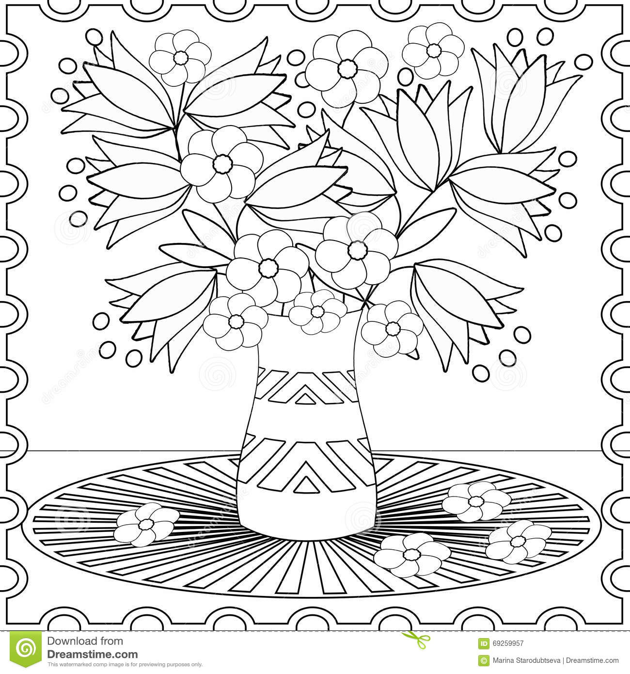 coloring page decorative decorative elements flowers illustration stock illustration