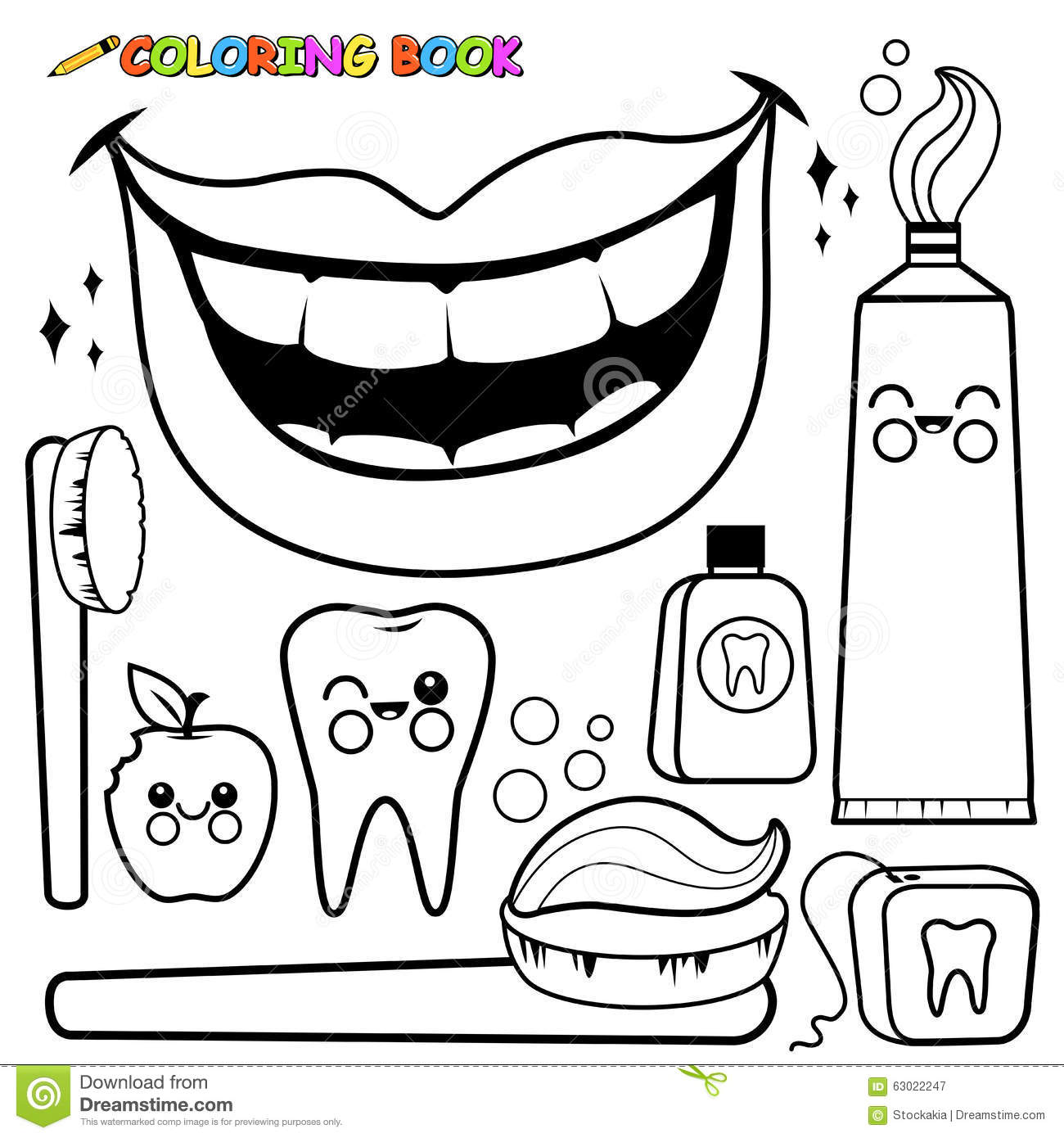 Coloring Page Dental Hygiene Vector Set Black White Outline Objects Toothbrush Toothpaste Floss Mouth Wash Tooth Bitten on Personal Hygiene Coloring Pages