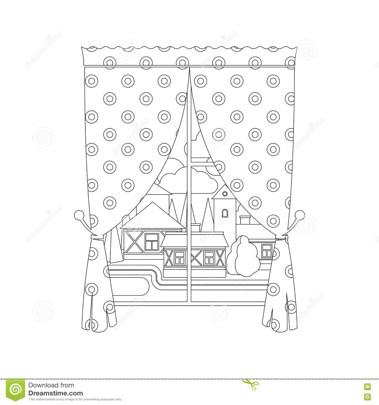 City Coloring Curtain Illustration Page Vector Window