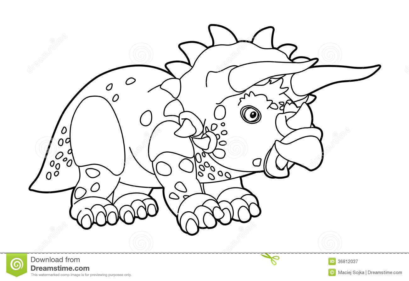 coloring page dinosaur illustration for the children stock