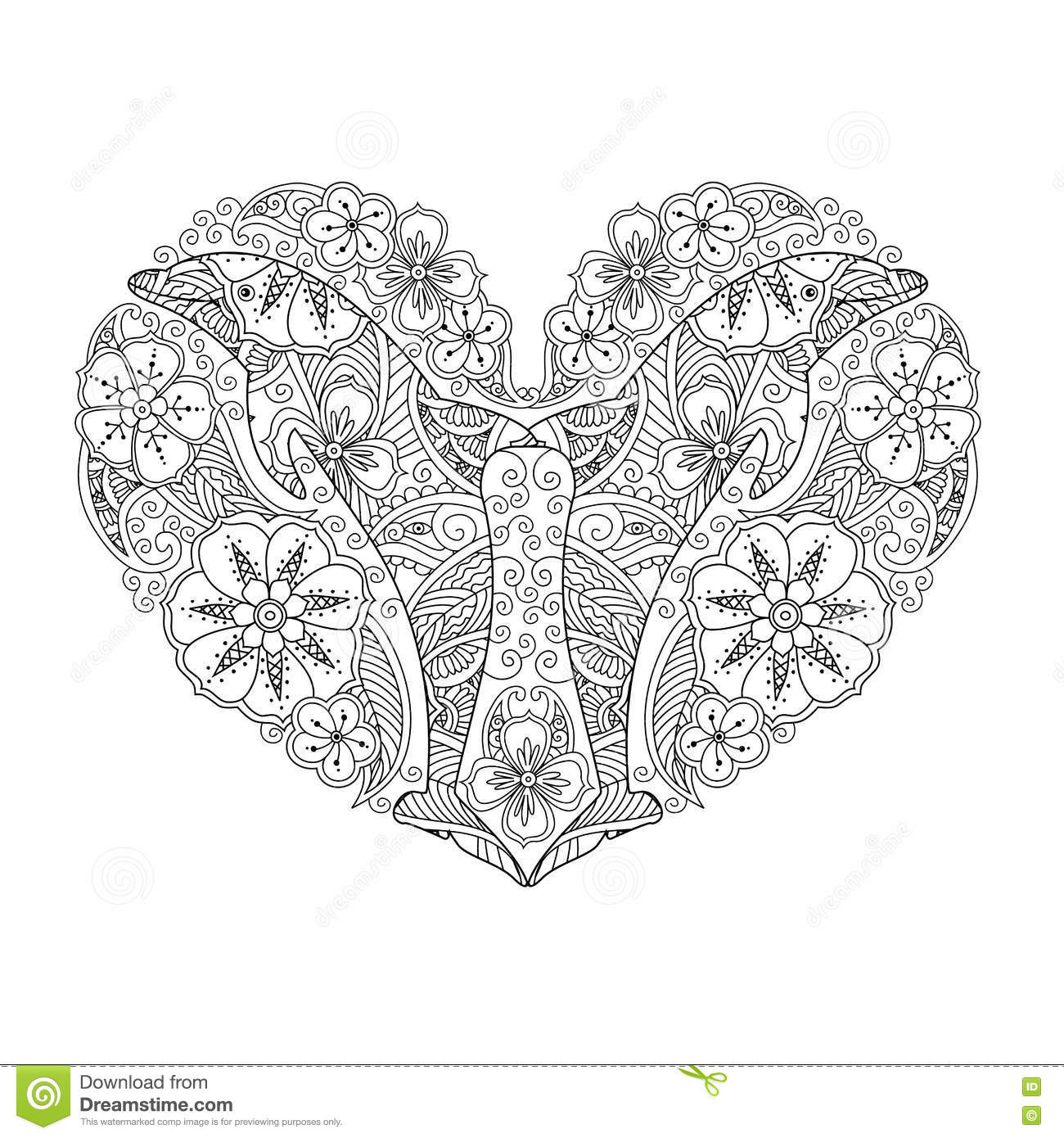 Download Coloring Page With Dolphin In Heart Shape Isolated On White Background Stock Vector