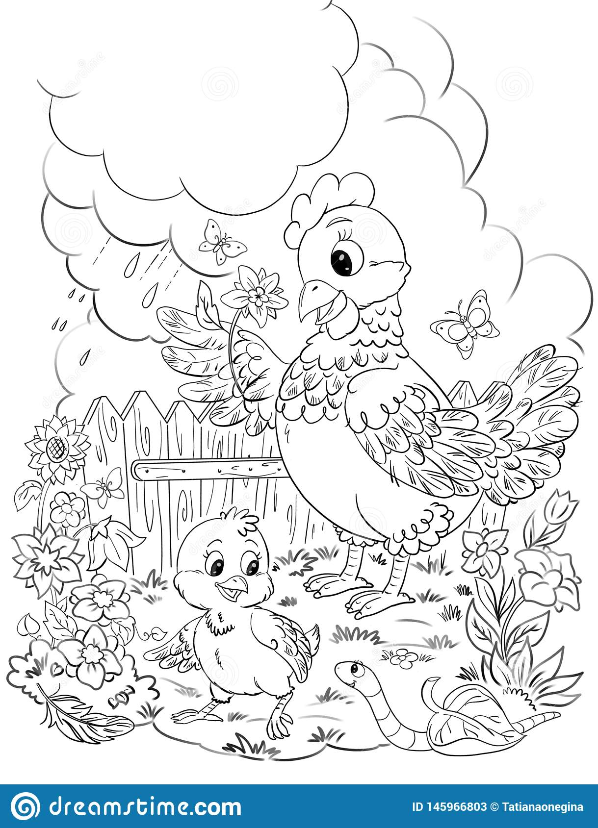 Coloring Page Drawing With Cartoon Hen And Chicken At The