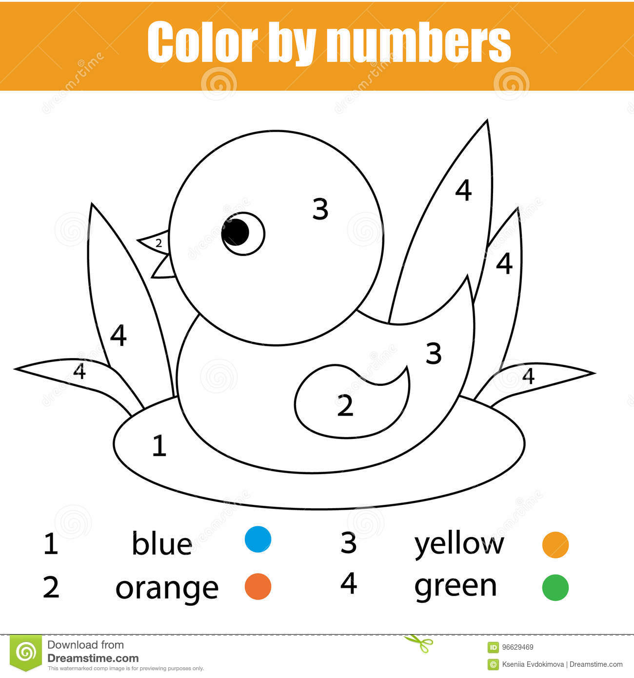 Coloring page with duck bird color by numbers educational children game drawing kids activity printable sheet animals theme